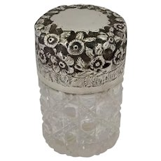 English Sterling Dresser Jar Bath Salts Cut Glass Bottle