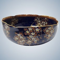"""Satsuma Flowers Cobalt 8"""" Bowl 1920's"""