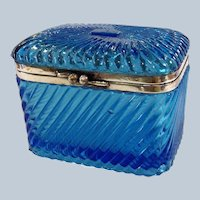Russian Tea Caddy Blue Molded Glass Casket