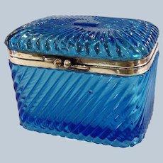 Russian Tea Caddy Blue Molded Glass Casket