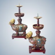 Cloisonne Chinese Candlesticks Early 1900's