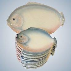 Fish Set Dozen Plates and 1 Platter Czechslovakian