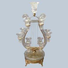 Palais Royale Lyre Epergne Cut Glass Gilt Bronze