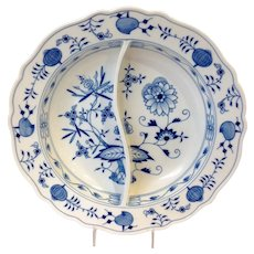 "Meissen Blue Onion Pattern 13 3/4"" Divided Serving Dish"