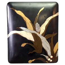 "Japanese Lacquer Floral  Box 9 1/2"" Signed"