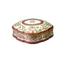 La Tellac Limoges Porcelain Box Floral with Ormolu Mounts 7""
