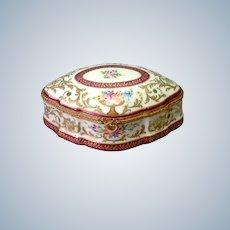 """La Tellac Limoges Porcelain Box Floral with Ormolu Mounts 7"""""""