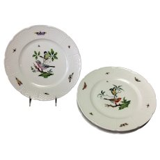 "Four Les Oiseaux Ceraline Dinner 10.75"" Plates Bugs and Birds Group of 4"