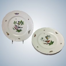 """Four Les Oiseaux Ceraline Dinner 10.75"""" Plates Bugs and Birds Group of 4"""