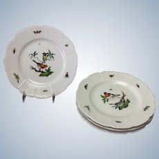 Four Les Oiseaux Ceraline China Bread and Butter Plates Bugs and Birds