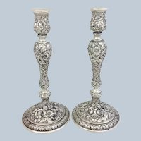 "Pair Repousse Candlesticks Schultz Sterling 10"" Hand Chased"