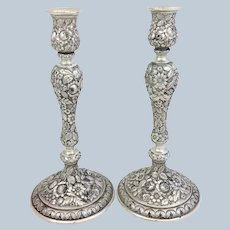 """Pair Repousse Candlesticks Schultz Sterling 10"""" Hand Chased"""