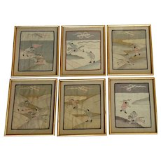 Chinese Kesi Tapestry Warriors Group of Six Framed 19th c.