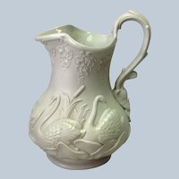 """Green Swan Pitcher 8"""" England 1850's"""