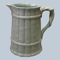 "Staffordshire Jug Bamboo Pitcher Green 8 7/8"" Circa 1835"