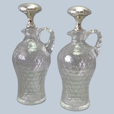 Pair Gorham Whiskey Decanters Sterling Glass 11 1/2""