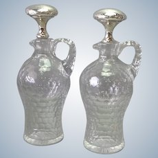 """Pair Gorham Whiskey Decanters Sterling Glass 11 1/2"""""""
