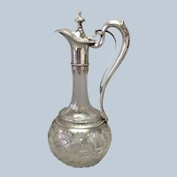 Antique Claret Jug 800 Silver Cut Glass Mechanical Spout 12""