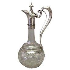 """Antique Claret Jug 800 Silver Cut Glass Mechanical Spout 12"""""""
