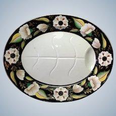 "Ashworth Ironstone  Black White Flowers Meat Platter 22"""