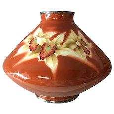 Ando Large Cloisonne Enamel Orchid Vase Japan 1940's