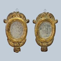 Pair of Early Italian Carved Wood Gilt Mirrors 10""