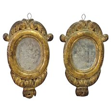 """Pair of Early Italian Carved Wood Gilt Mirrors 10"""""""