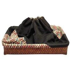 Kinchaku basket Bamboo Drawstring Top Vintage