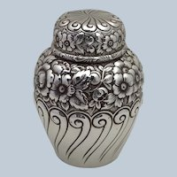 Repousee Tea Caddy Sterling Fuchs 1890's