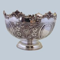 """English Silver on Copper Serving Bowl Ornate 8"""""""