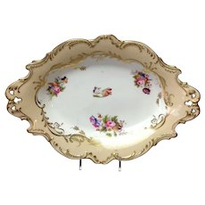 "English Cake Dish 12"" Floral Rockingham 19th"