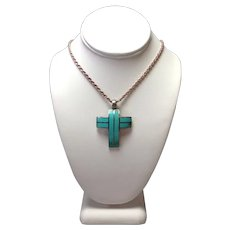 "Turquoise and Sterling Cross 23"" Chain"