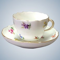Four Meissen Coffee Cups and Saucers