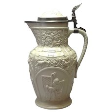 Mettlach Stoneware Wine Jug with Pewter Top Villeroy & Boch 12'