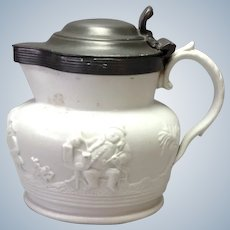 Salt Glaze English Pitcher Pewter Lid High Relief Drinking Figures 19th c