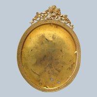 """Gilt Brass Oval Frame 6 3/4"""" Easel Back 19th c"""