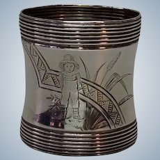 Children's Napkin Ring Engraved Young Boy Wheat 1860's