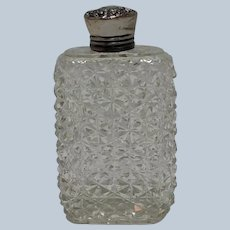 Cut Glass Flask Sterling Top American 19th c