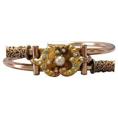 Victorian Bangle Yellow and Green Gold Plated