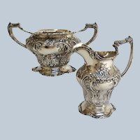 Gorham Chantilly Grand Cream And Open Sugar Sterling Circa 1900