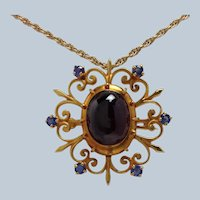 Garnet and Sapphire Pendant or Pin Antique 14K