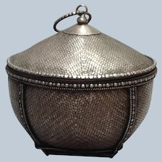 Silver Woven Covered Basket Japan Antique 19th c