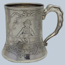 Gorham Cup Acid Etched Children Sterling Circa 1880