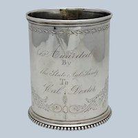 Gorham Mug Agriculture Trophy Circa 1869 Sterling