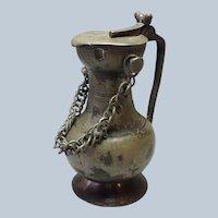 """Antique Pewter Wine Jug 10 3/8"""""""