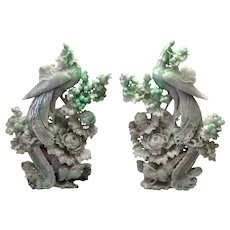 Pair Chinese Carved Jade Phoenix Birds Flowers Large 18""