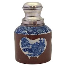 Staffordshire Transferware Tea Caddy Sterling Top Blue & White