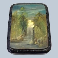 Russian Lacquer Box Waterfall with Mother of Pearl