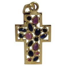 Gemstone Cross 18K Sapphire Amethyst by Vior