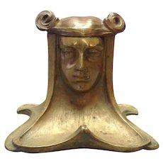 Art Nouveau Gilt Bronze Bust of a Lady Inkwell